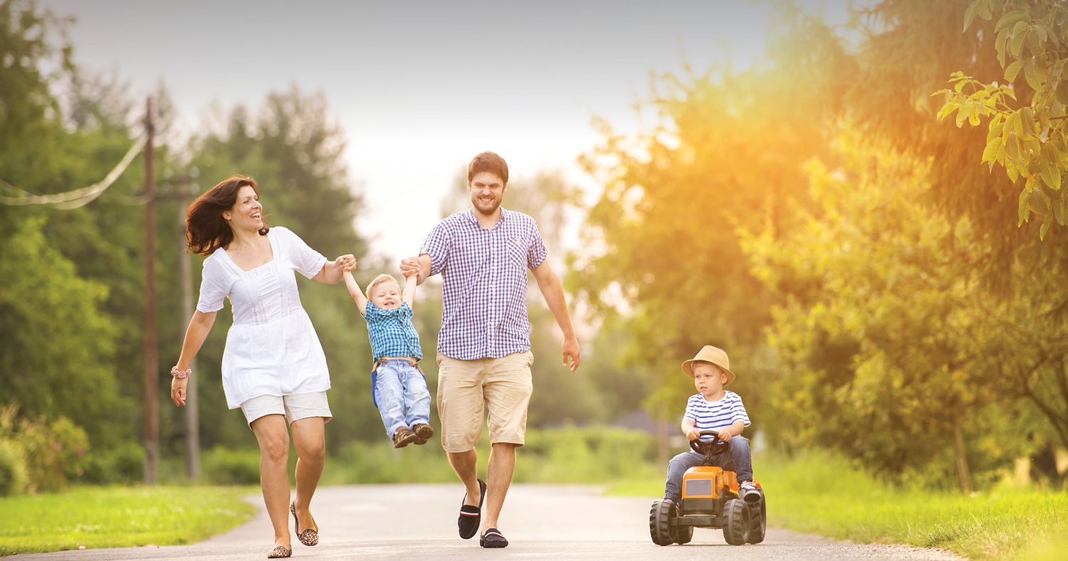 Happy Family on a Walk - aebank.us